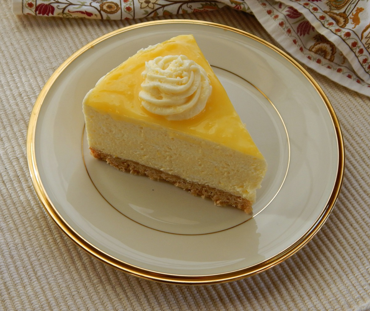 Lemon Curd Mousse Cake- note that this was cut after the cake was ...