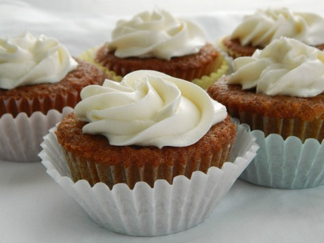Grandma's Applesauce Cupcakes, shown here with Ermine Buttercream Frosting