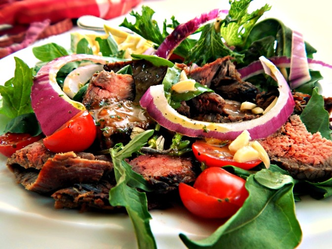 California Steak Salad with Sweet/Spicy Asian Vinaigrette