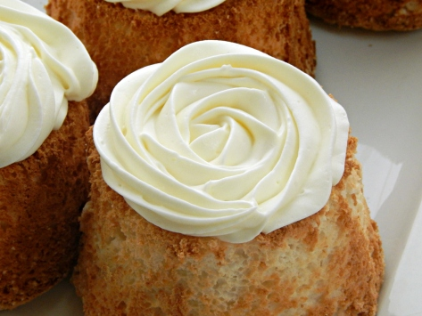 Angel Food Cake with Mock Mascarpone Filling