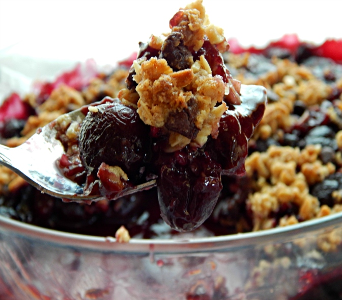 Dark Cherry Crisp with Chocolate
