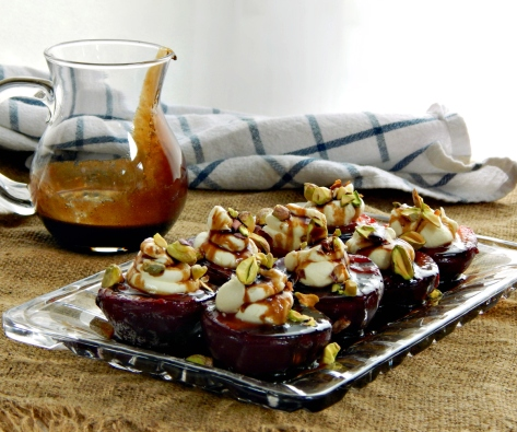 Grilled Plums with Mascarpone & Balsamic Gastrique
