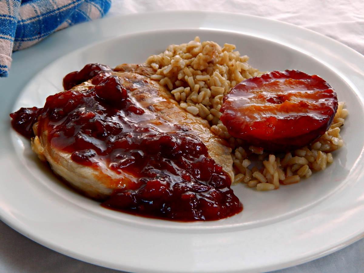 Pork Chops with Plum Compote | Frugal Hausfrau