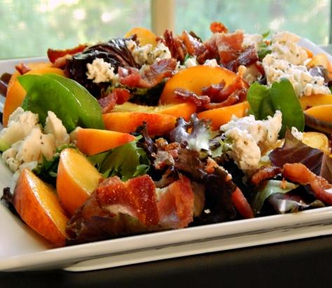 Arugula & Peach Salad with Feta & Bacon