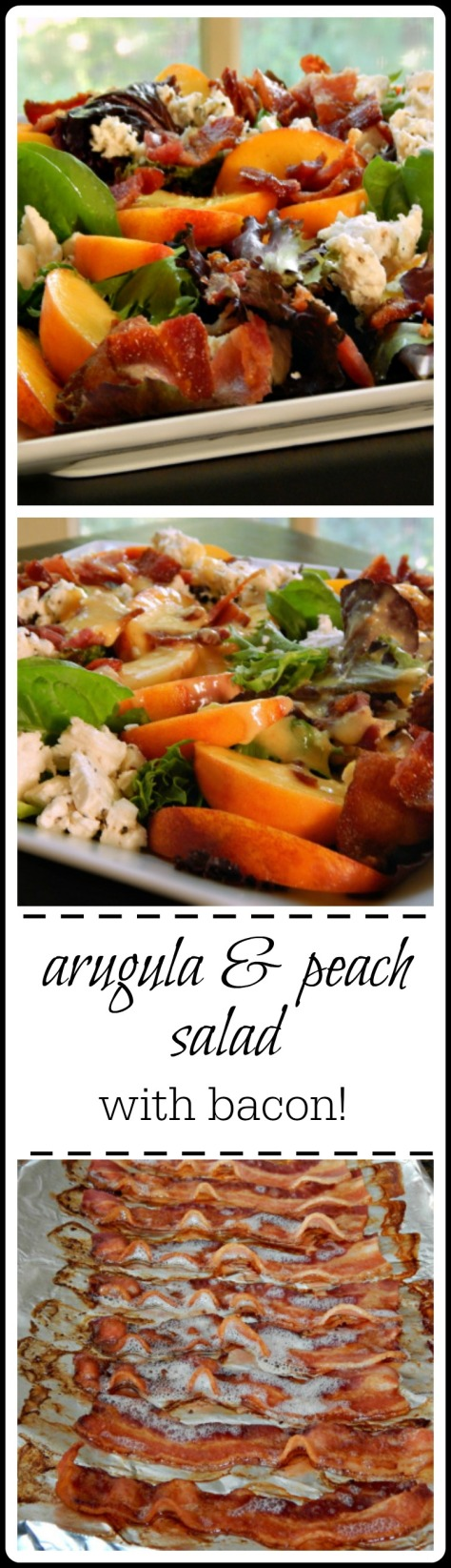 Arugula & Peach Salad - the peaches are sweet but the bacon & feta just contrast so nicely! You'll want to drink that dressing!