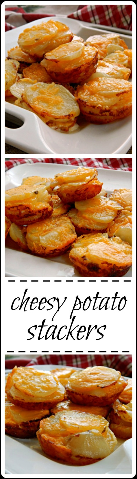 Cheesy au Gratin Potato Stacks - I thought they'd be fussy but they're super easy and cook fast! And soooo good!!