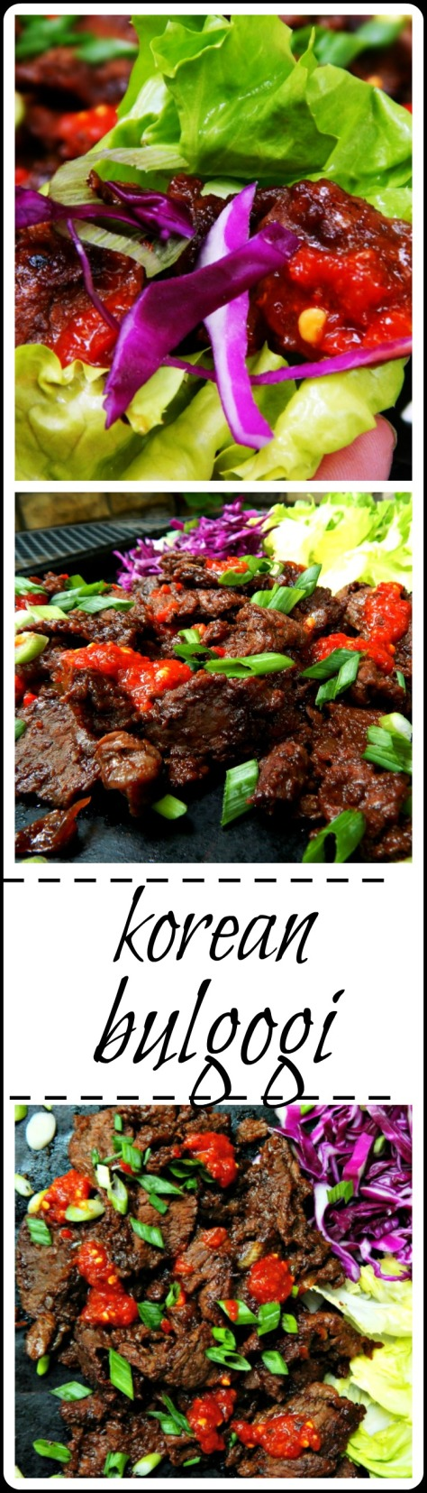 Korean Bulgolgi, I'm talking about wafer thin slices of tender beef, marinated overnight. Then grilled (or in this case) cooked in a skillet until the edgescaramelize This is insane!