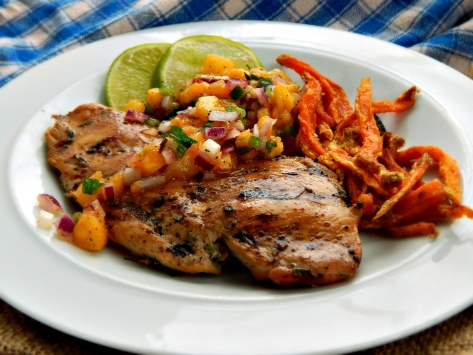 Pineapple Mango Salsa with Jerk Chicken