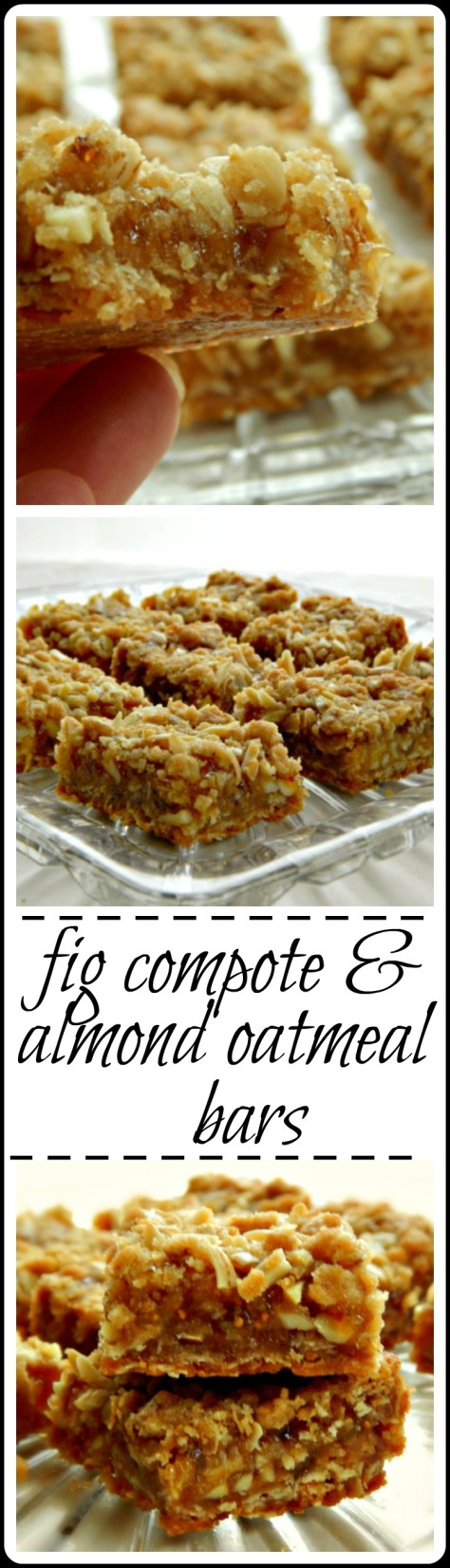 Fig Compote & Almond Oatmeal Bars - they're just fancy Jam Oatmeal Bars so feel free to use any jam you like. But this combo IS sublime@