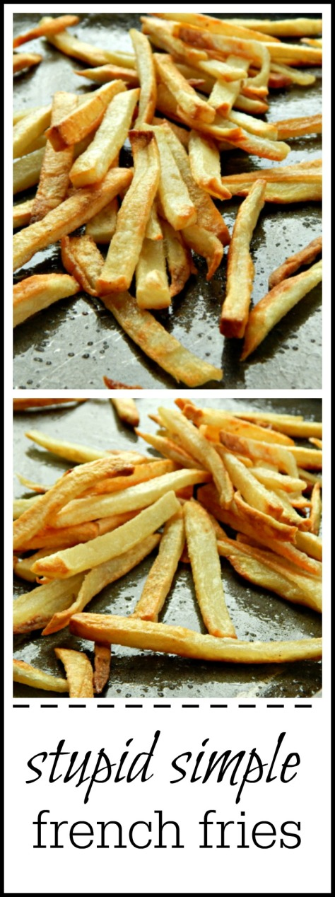 Stupid Simple trick to getting fantastic fries baked in the oven = almost as easy as tearing open a freezer bag but so much better!