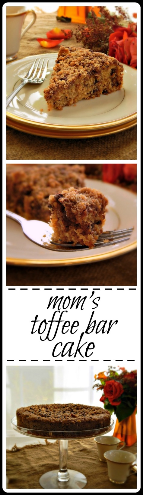 Mom's Toffee Bar Cake: I did tinker just a bit, sorry Mom! I added MORE toffee & put it in a round pan.