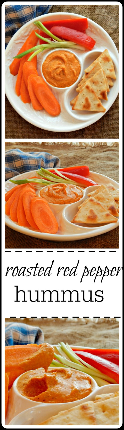 Roasted Red Pepper Hummus: So good and it has just a little extra sumpin' from the smoked paprika! Easy and minutes to make.