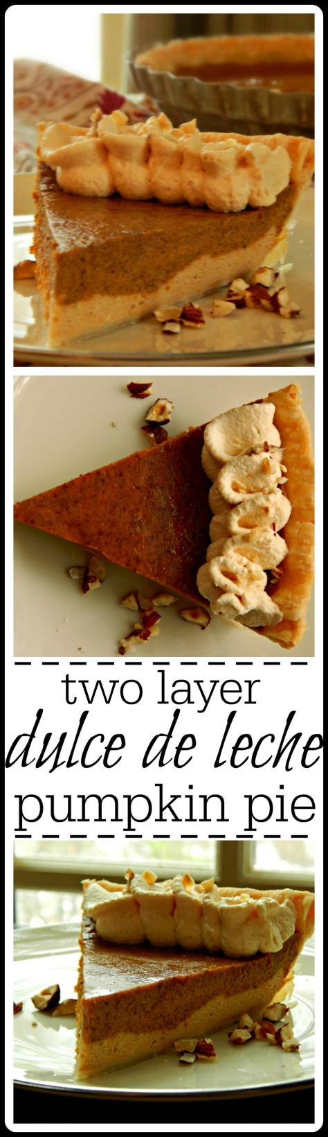 It's like cheesecake on the bottom, pumpkin pie on the top with dulce de leche whipped cream topping.