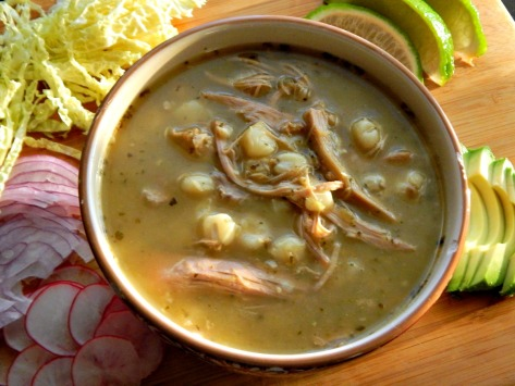 Pozole de Pavo Verde (Turkey Pozole) without any garnishes