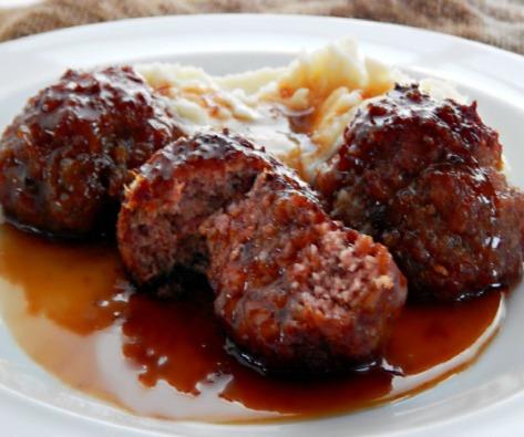 Iowa Ham Balls with Sweet/Sour Glaze