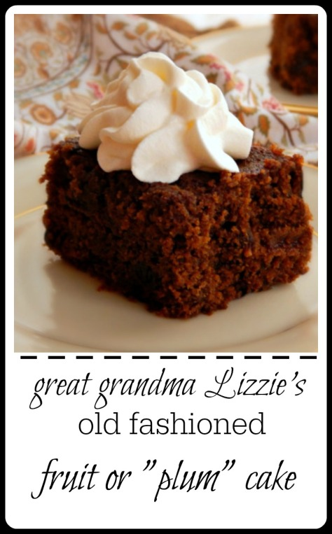 """My great Grandma's recipe. I had to research to find out why this cake, made with raisins, is called a fruit cake - originally they we called """"plum"""" cakes in the old world...even tho they aren't made with plums, just dried fruit. Anyway, it's like a delicious spiced cake."""