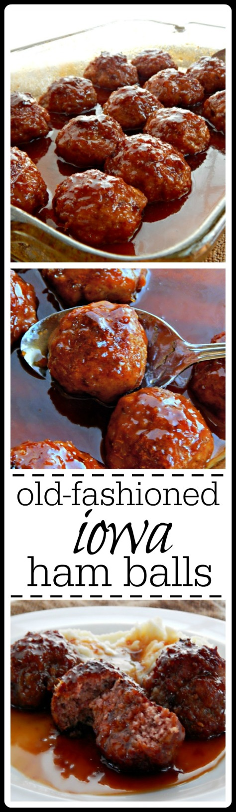 The real deal Iowa Ham Balls with a Sweet Sour Glaze. No soups or strange stuff, just great cookin'.
