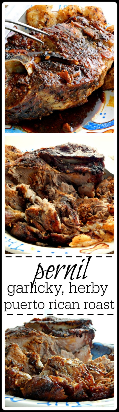 Pernil - a garlicky herby fall of the bone tender Puerto Rican Pork Roast with crispy Chicharron