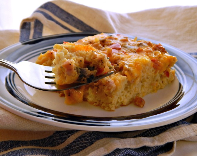Easiest Breakfast Casserole, Cheese & Sausage or Ham