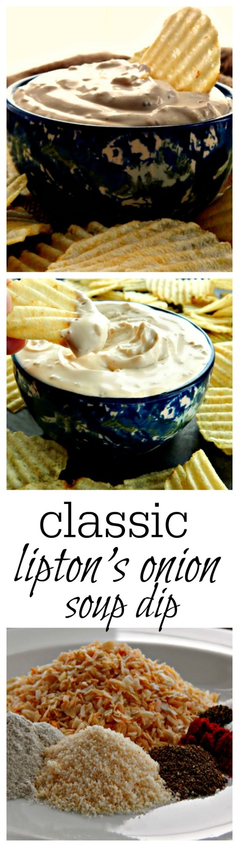 This is the easy classic onion dip, made with Liption's dry onion soup mix (or my home-made version)