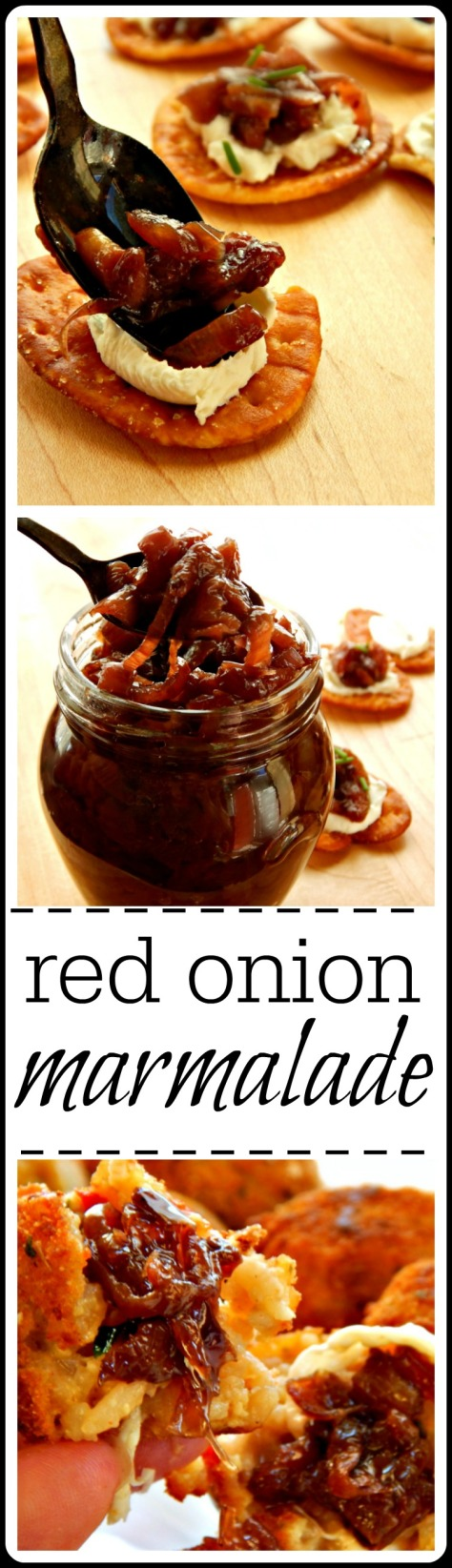 Call it Red Onion Marmalade, Jam or Confit, - it's a rich, caramelized red onion mixture to use as a condiment for all kinds of things. Sandwiches, crackers & cream cheese, burgers. The list goes on and on...