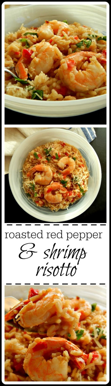 Roasted Red Pepper & Shrimp Risotto - easy method; hardly any stirring