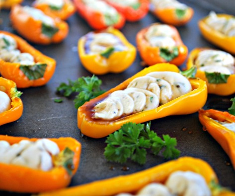 Herbed Goat Cheese Stuffed Mini Peppers with Honey Balsamic Glaze