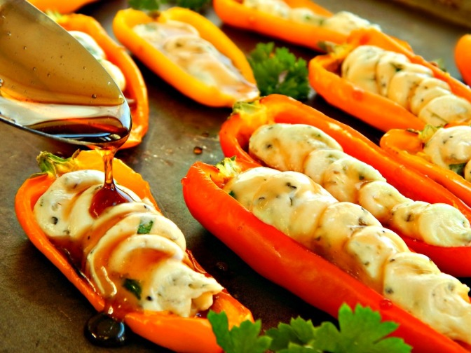 Mini Peppers Stuffed with Herbed Goat Cheese