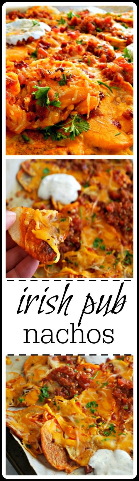 Irish Pub Nachos - Home-made oven roasted potato chips drenched in wing sauce, cheese, bacon (or corned beef) salsa and dolloped with a home-made ranch!