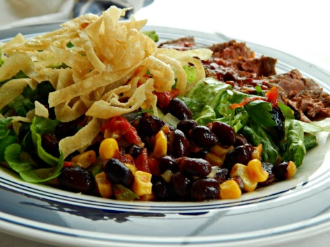 Roasted Corn & Black Bean Salsa in Southwestern Steak salad
