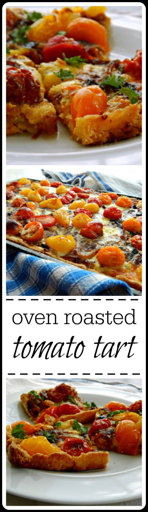 Oven Roasted Tomato Tart - tomatoes, cheese and caramelized onions.