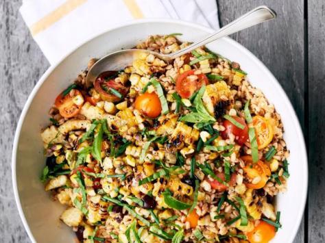 jeff's warm farro salad with charred corn