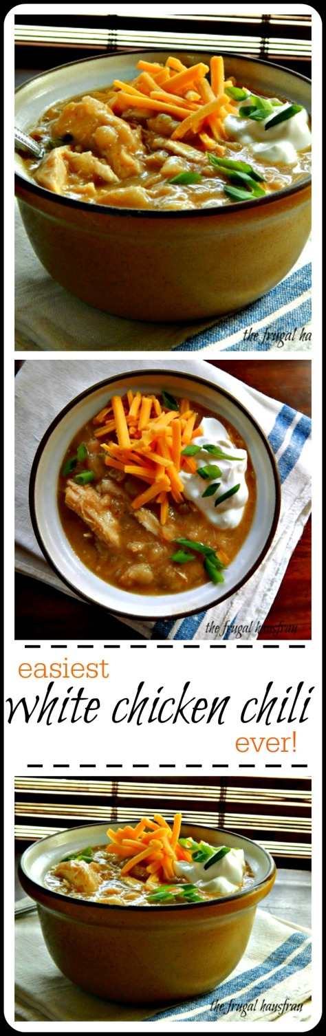 Easy White Chicken Chili - the Frugal Hausfrau. Super easy, fast and perfect for a dinner, party, or tailgaiting!