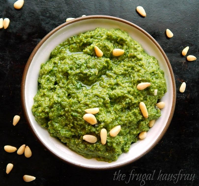 Pesto with Radish tops, basil & parsley