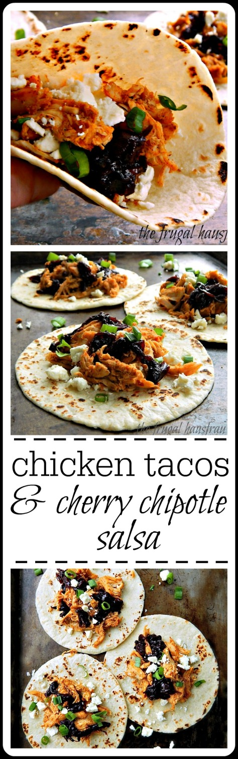 Shredded Chicken Tacos with Cherry Chipotle Salsa