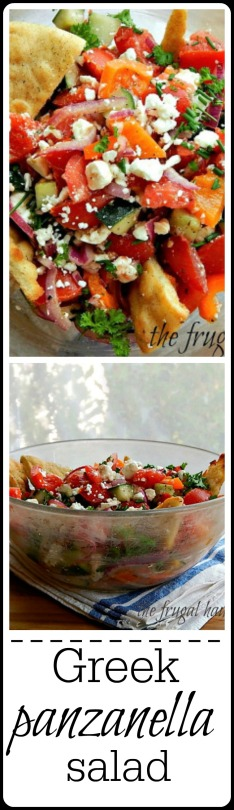 Greek Panzanella Salad: tomatoes & cucumber with easy home-made dressing and the best Pita Chip Triangles