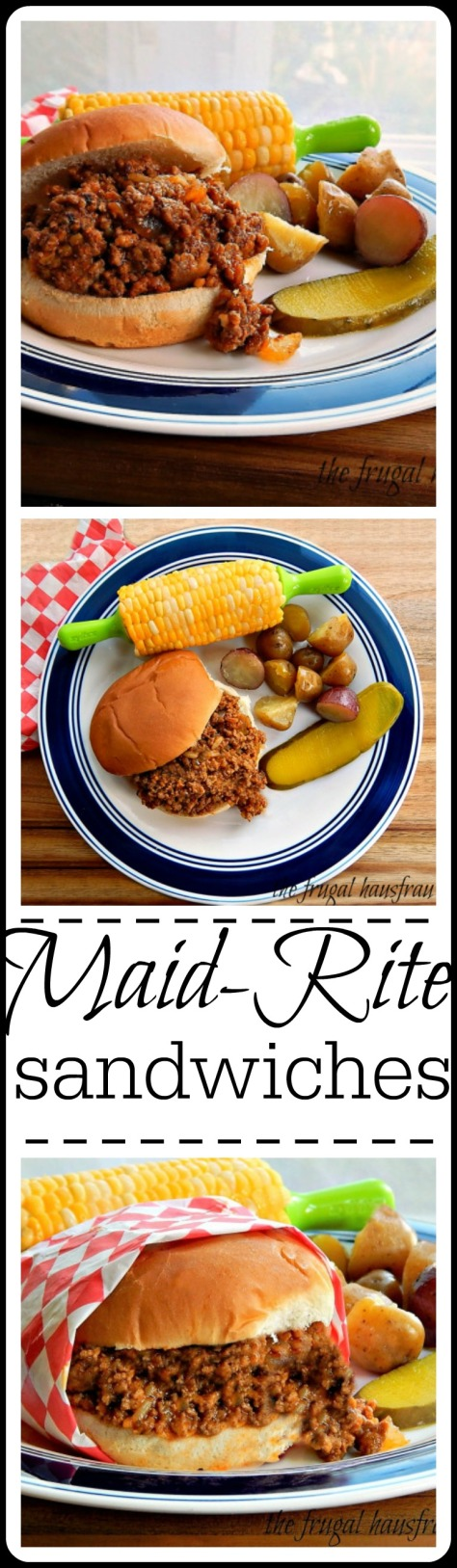 maid rite sandwiches, sometimes called Tavern Sandwiches or Sloppy Joes