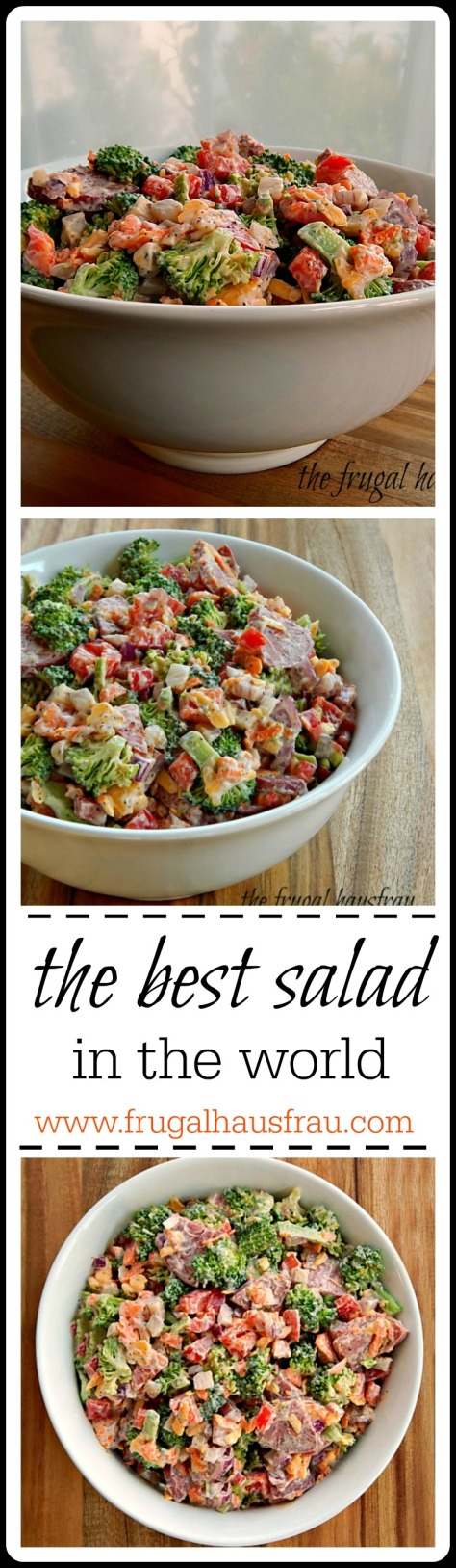 the Best Salad in the World - loaded with good stuff & a surprise: Salami instead of Bacon. Fantastic dressing makes this a great salad to riff with your favorite things.