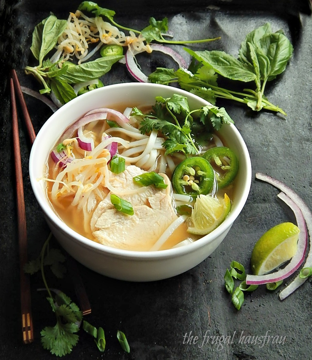 Shortcut Pho Ga (Vietnamese Chicken Noodle Soup) or Pho Ga Tay Instant Pot or Stove-top