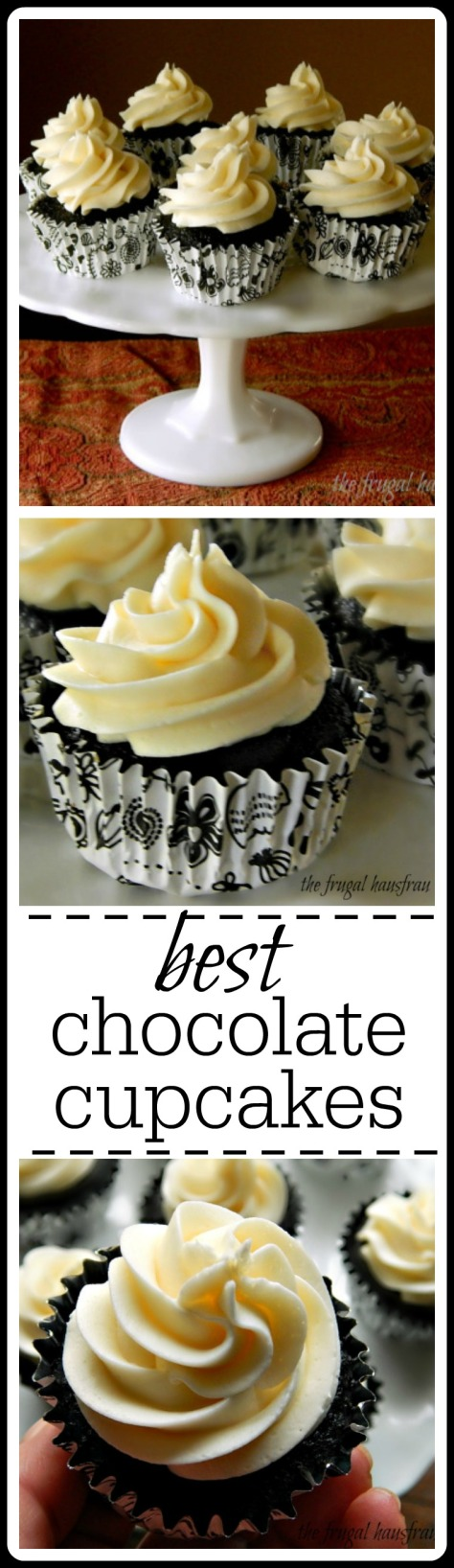Best Chocolate Cupcakes: Very light, moist and tender cupcakes that pack a whollop of chocolate flavor.