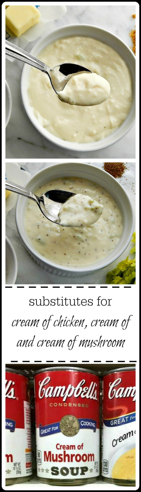 Cream of Anything!! Use instead of a additive & sodium full can of Cream of Mushroom, Celery or Chicken