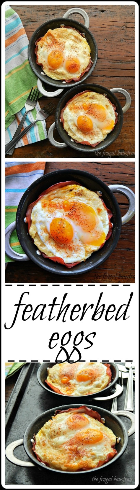 Eggs cooked over a savory, custard soaked bread layered over ham - and that ham has such crispy edges!.