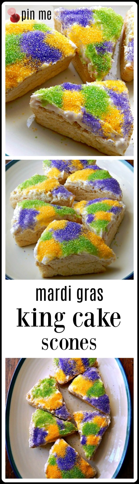 King Cake Scones - a beautiful, moist, barely sweet cream cheese scone that would be great on any occasion - but perfect for Mardi Gras with all the glorious Sanding Suger