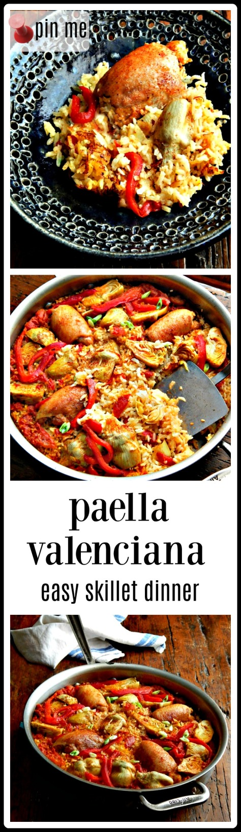Paella Valenciana - it's really just a simple skillet dinner. This one is made with chicken.